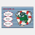 Cute Nautical Alligator Baby Shower Theme Lawn Sign