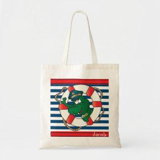 Cute Nautical Alligator Nursery Theme Tote Bag