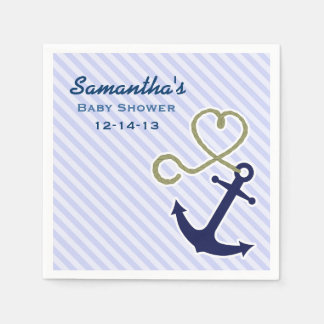 Cute Nautical Anchor Boy Baby Shower Custom Paper Napkin