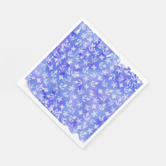 Cute Nautical Anchor Pattern on Blue Watercolor Napkin