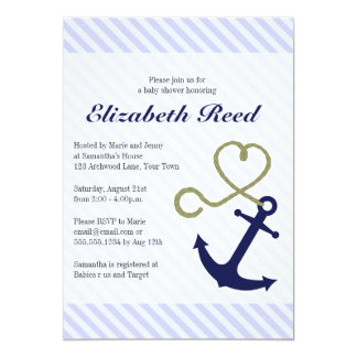 Cute Nautical Baby Shower Anchor with Heart Rope Card