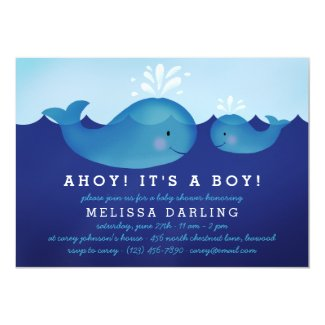 Cute Nautical Baby Shower Invitations | Blue Whale