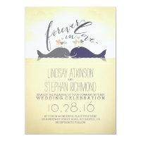 cute nautical beach wedding invitation with whales