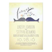 cute nautical beach wedding invitation with whales