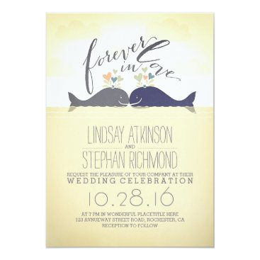 Beach Themed cute nautical beach wedding invitation with whales