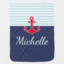 Cute Nautical Blue & Red Design Custom Name Baby Blanket