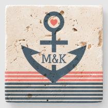 Cute Nautical Boat Anchor &Blue & Coral Stripes Stone Coaster