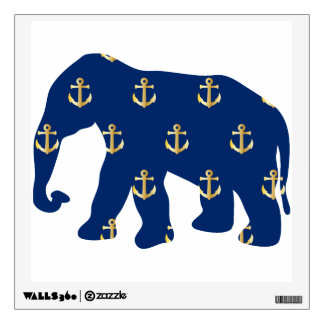 Cute Nautical Elephant with Golden Anchors Pattern Room Graphic