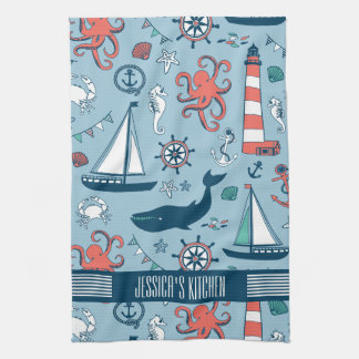 Cute Nautical Pattern Baby Blue Background Hand Towel