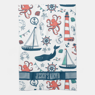 Cute Nautical Pattern White Background Hand Towel