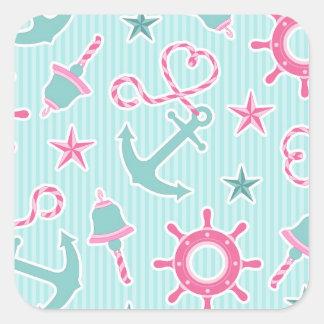 Cute Nautical Print Aqua and Pink Square Sticker
