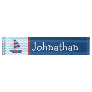 Cute Nautical Sail Boat Personalized Nameplate
