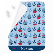 Cute Nautical Sailboat Baby Blanket