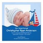 "Cute Nautical Sailboat Baby Boy Photo Announcement 5.25"" Square Invitation Card"