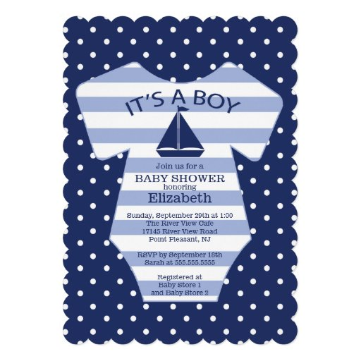 cute nautical sailboat baby shower invitation