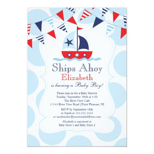 cute nautical sailboat boys baby shower invitation zazzle