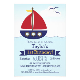 Cute Nautical Sailboat Kid's Birthday Party 5x7 Paper Invitation Card