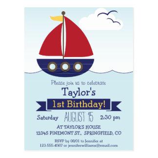 Cute Nautical Sailboat Kid's Birthday Party Postcard
