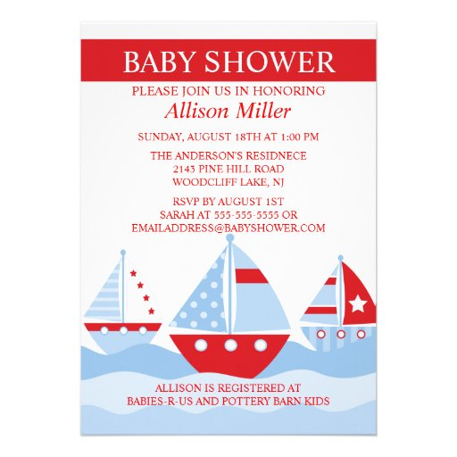 Cute Nautical SAILBOATS Boy Baby Shower Personalized Invites