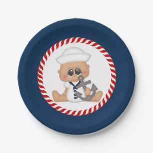 Cute Nautical Sailor Baby Boy Paper Plate  sc 1 st  Zazzle & Baby Boy Nautical Plates | Zazzle