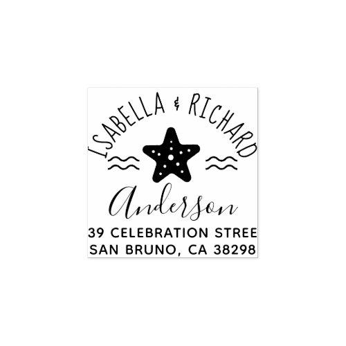 Cute Nautical Starfish Round Names Return Address Rubber Stamp