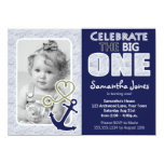 Cute Nautical Theme First Birthday Party Blue Personalized Announcement