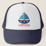 """Cute nautical toy boat trucker hat for kids<br><div class=""""desc"""">Cute nautical toy boat trucker hat for kids. Funny maritime gift idea for boys. Sailing ship illustration. Vector design for children. Personalizable with name or text like; captain,  ship ahoy,  sailor etc. Fun gift idea for children&#39;s Birthday party. Make one for son,  grandson,  grandchild,  brother etc.</div>"""