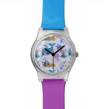 Beach Themed Cute Nautical Watercolor Whale Narwhal Jellyfish Watch