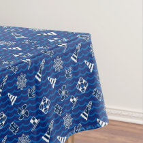 Cute Nautical Waves Pattern Tablecloth