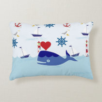 Cute Nautical Whale Decorative Pillow