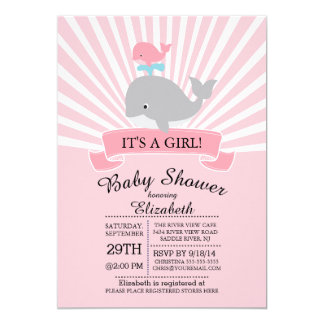 Cute Nautical Whale Girl Baby Shower Invitation