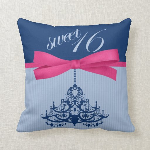 Cute Navy Blue and Pink Sweet 16 Chandelier Pillow Zazzle