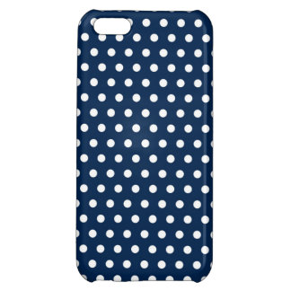 Cute Navy Blue and White Polka Dots Cover For iPhone 5C