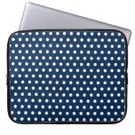 Cute Navy Blue and White Polka Dots Laptop Computer Sleeve