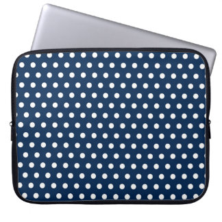 Cute Navy Blue and White Polka Dots Laptop Sleeves