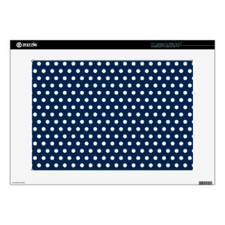 Cute Navy Blue and White Polka Dots Decals For Laptops