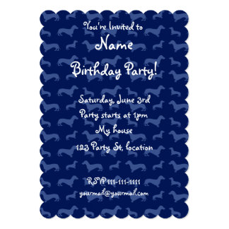 Cute navy blue dachshund pattern 5x7 paper invitation card