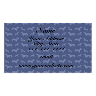 Cute navy blue dachshund pattern Double-Sided standard business cards (Pack of 100)