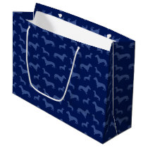 Cute navy blue dachshund pattern large gift bag