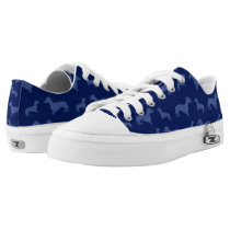 Cute navy blue dachshund pattern Low-Top sneakers