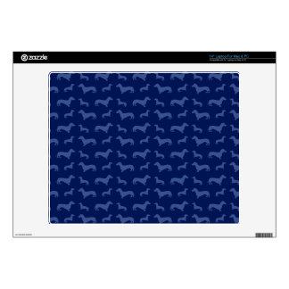 "Cute navy blue dachshund pattern 14"" laptop skins"