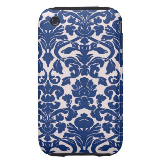 Cute Navy Blue Damask Pattern Tough iPhone 3 Case