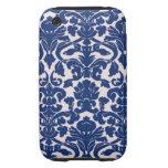 Cute Navy Blue Damask Pattern Tough iPhone 3 Case