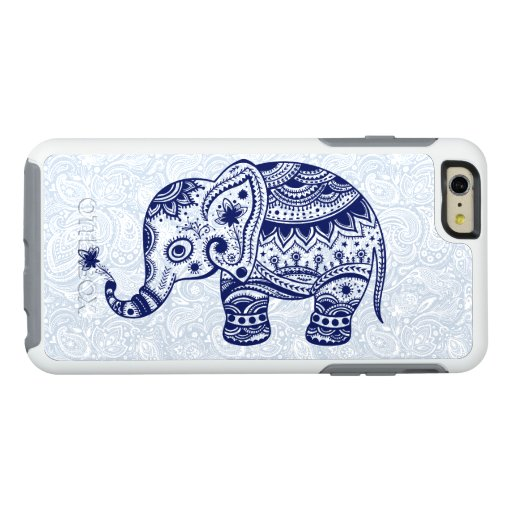 Cute Navy Blue Elephant Floral Illustration OtterBox iPhone 6/6s Plus Case