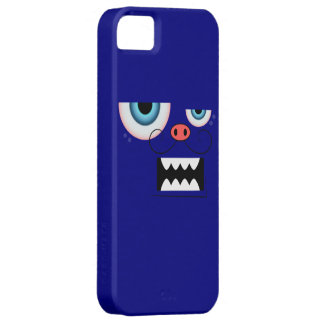Cute Navy Blue Mustache Monster Emoticon iPhone SE/5/5s Case