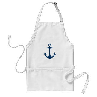 Cute Navy Blue Nautical Inspired Adult Apron
