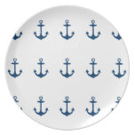 Cute Navy Blue Nautical Inspired Plate