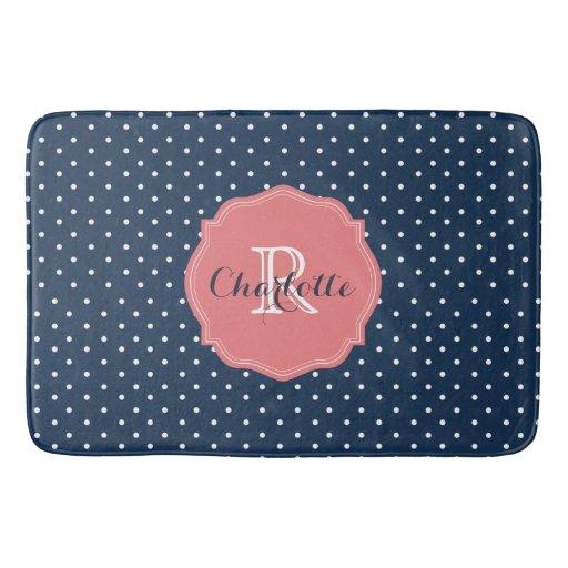 Cute Navy Blue Polka Dots And Coral Monogram Bathroom Mat