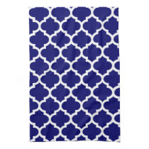 cute navy blue quatrefoil towels