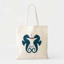 Cute Navy Blue Seahorses Red Hearts Tote Bag